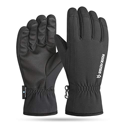 Guantes de cuero impermeables del esquí, guantes de la nieve del invierno aislados guantes calientes de la pantalla táctil, XL