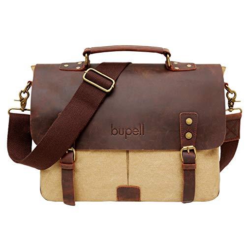 """bupell Borsa tracolla in pelle / canvas per laptop fino a 14 """"- Borsa Messenger - Cachi"""