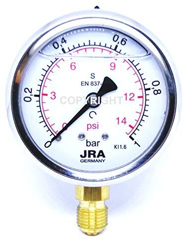 """JRA-Longlife Glyzerin Manometer 0-1 bar NG63 Anschluss unten G1/4"""""""