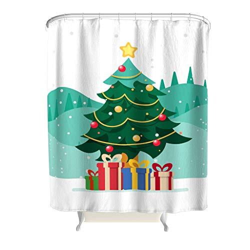 Charzee Douchegordijn, met ringen, met kerstboom, antibacterieel, douchegordijn, badkamergordijn, met ringen, 180 x 200 cm