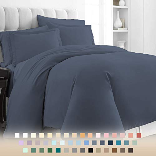 Pizuna 400 Thread Count Cotton Double Bed Duvet Cover Set Dark Blue, 100% Long Staple Cotton Bed Set Double Bed, Soft Sateen Quilt Cover Double Set (100% Cotton Indigo Blue Duvet Cover Double)