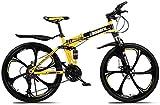 HongLianRiven BMX Mountain Bike Folding Bikes, 26In 21-Speed Double Disc Brake Full Suspension Anti-Slip, Lightweight Frame, Suspension Fork 5-29 (Color : Yellow)