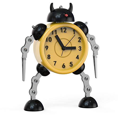 Juboos Reloj Despertador para Niños,Reloj Despertador Robot,Reloj Despertador Analógico para Niños Sin Tictac,Reloj Despertador Silencioso para Niños y Niñas, (Amarillo)