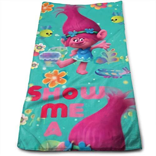 Jiayou J Trolls Poppy Hand Towels Dishcloth Towels Ultra Soft & Absorbent Bathroom Towels - Great Shower Towels, Hotel Towels & Gym Towels 12 X 27.5 Inch