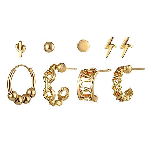 FEARRIN Pendientes de moda Boho Multi-Elemento de Oro Cristal Conjunto de Pendientes para las Mujeres Luna Estrella Colgante Piercing Geométrico Stud Pendientes Joyería LNI1754