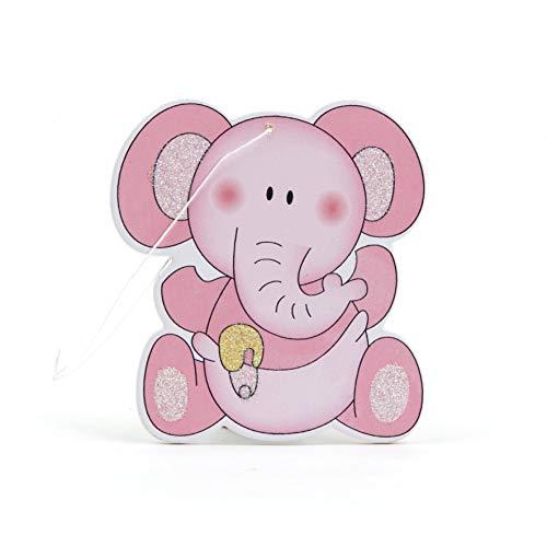 Mopec Colgante de Madera con Forma de Elefante en Color Rosa, Pack de 12 Unidades, 0.20x5.50x6.00 cm