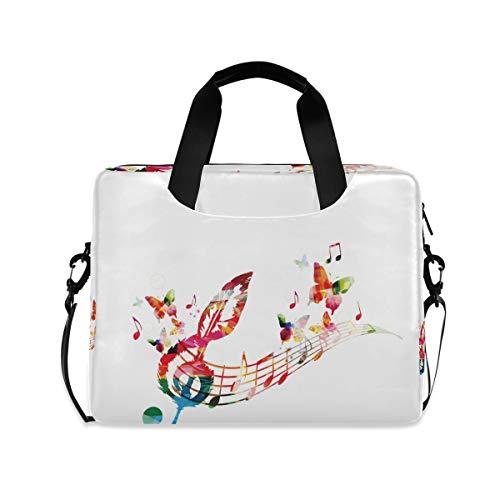 XIXIKO Bunte Musiknoten-Schmetterling-Laptop-Tasche, erweiterbarer Trolley, Aktentasche für Damen und Herren, mit abnehmbarem Gurt, für Arbeit, Reisen, Büro, iPad, MacBook