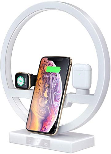 Starmood 3 In 1 Fast Charging Table Desk Lamp Fast QI Wireless Charger Dock Station for Apple Watch Airpods iPhone
