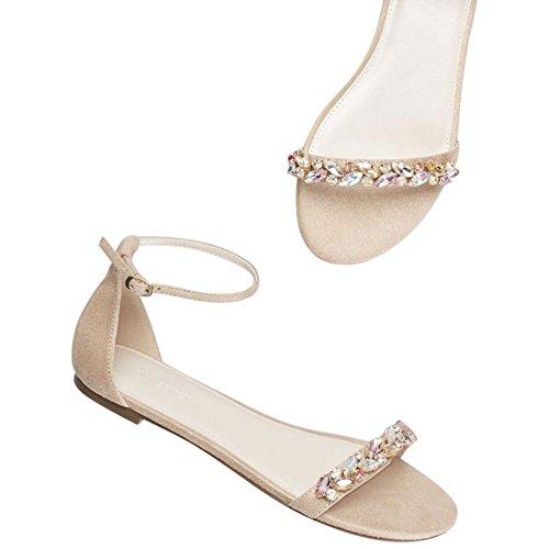 Faux-Suede Gem Strap Flat Sandals Style Halston, Blush, 9