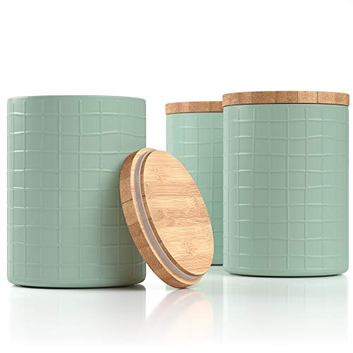 """Barnyard Designs Kitchen Canisters with Bamboo Lids, Airtight Metal Canister Set, Coffee, Sugar, Tea, Flour Storage Containers, Farmhouse Kitchen Decor, Mint, 5.25"""" x 6.75"""", Set of 3"""