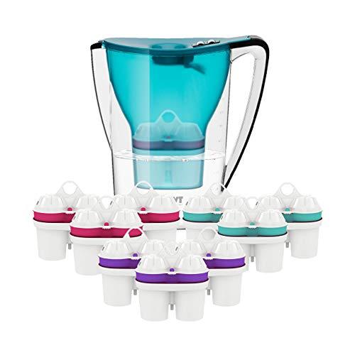 BWT Wasserfilter PENGUIN 2.7l türkis inkl. 10 Filterkartuschen | Immunsystem schützen mit Zink | Leistungsfähigkeit erhöhen mit Magnesium | Schutz vor Übersäuerung mit Balanced Alkalized