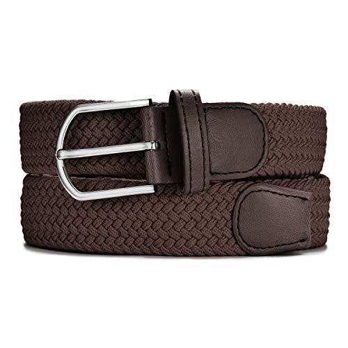 MASADA Cinturón de tela - Cinturón stretch elástico para hombres y mujeres 3,2 cm de ancho 100-110 cm de largo - Marrón