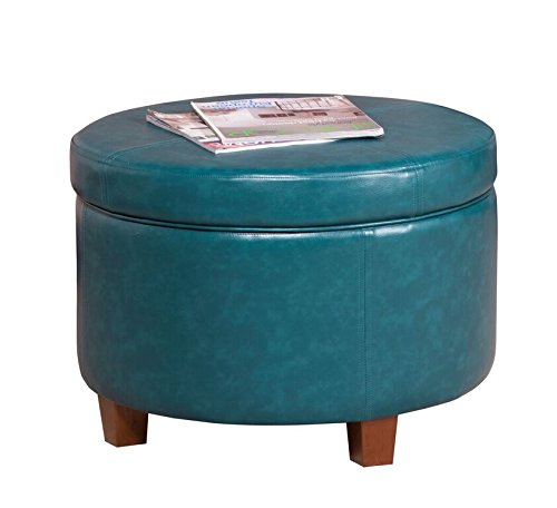 HomePop Round Leatherette Storage Ottoman with Lid, Teal