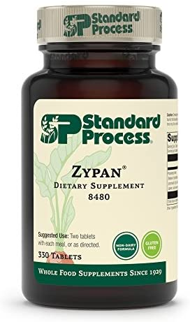 Standard Process Zypan - Whole Food Digestion and Digestive Health with Pepsin, Betaine Hydrochloride (Betaine HCl) and Pancreatin - Gluten Free - 90 Tablets