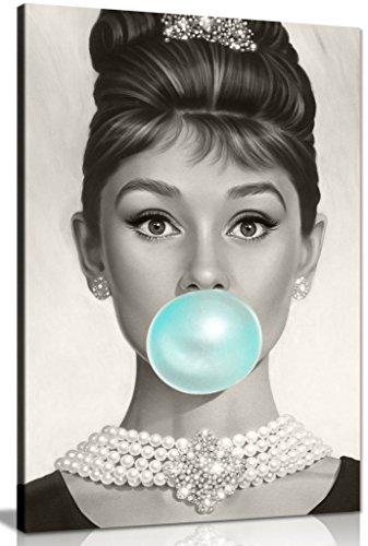 Audrey Hepburn - Lienzo decorativo para pared (61 x 40,6 cm), color azul