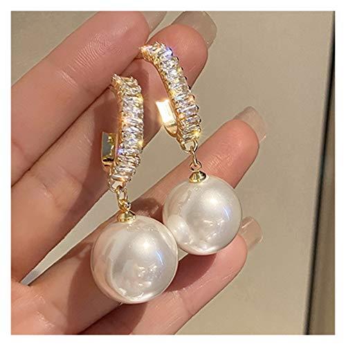 SFQRYP. Nuova Moda Coreana Bianco Orecchini a Goccia per Perle per Le Donne Bohemian Golden Round Pearl Orecchini da Sposa Orecchini Gioielli Regalo (Metal Color : ED137 1)