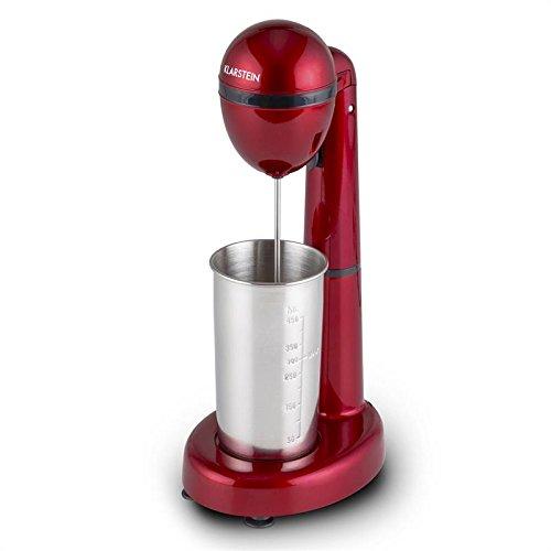 Klarstein van Damme Mezclador de bebidas - Batidor de smoothies, batidos, cremas y cócteles, Vaso mezclador, Portavasos, 100 vatios, 22.000 rpm, Capacidad: 450 ml, Vaso Acero inox, Rojo