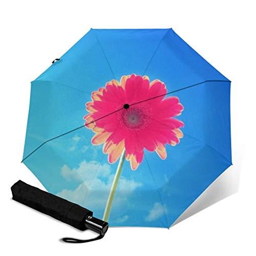 N\A A Prueba de Viento Ligero Paraguas Palo Floral de la Flor Completa de impresión automática Parapluie Rainy portátil Plegable Paraguas a Prueba de Viento Hombres Mujeres Paraguas (Color : YSC1019)