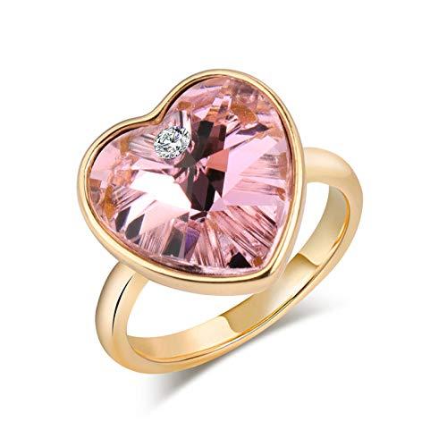 EzzySo Anillo en Forma de corazón de Cristal, Regalo Creativo Estadounidense Joyería de Anillo de aleación Personalizada (2 Piezas),Azul,8