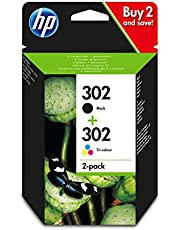 HP 302 2-pack Black/Tri-colour Original Ink Cartridges Combo pack Page Yield B 190/Tri 165 (P/N X4D37AE)