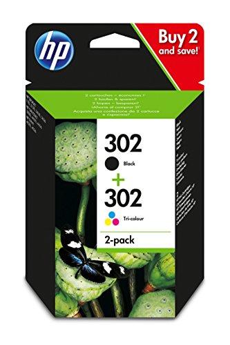 Lot de 2cartouches noires et tricolores HP 302 X4D37AE