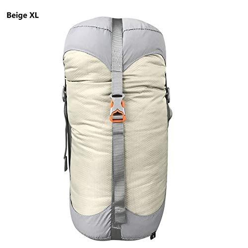 Générique Sac de Compression en Nylon pour Sacs de Couchage - 4 Couleurs - 4 Tailles - Couleur : Beige, XL