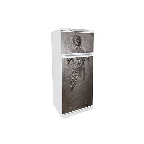 FridgeWrap: Han Solo in Carbonite Vinyl Sticker for Refrigerator 3 This FridgeWrap is 65 cm wide x 180 cm high (25.35 inches x 70.2 inches). Made from long-lasting outdoor sign vinyl. Our scratch-resistant matte laminate creates a stunning finish to your FridgeWrap and protects it from water, sun and oil. Designed to be easily cleaned and stand up to the heaviest wear and tear. Manufactured with tender loving care in our studio in Oxford, United Kingdom.