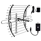 GE Pro Attic Mount TV Antenna with Indoor Antenna Amplifier, Long Range Directional Antenna, HDTV Digital VHF UHF, Mounting Pole Included, Low Noise Signal Booster, AC Power Adapter