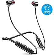 Neckband Bluetooth Headphones Waterproof IPX7, MEBUYZ Magnetic Wireless Earbuds, HiFi Stereo In-Ear Bluetooth Headsets w/Mic,10 Hrs Playback Noise Cancelling Earphones (Black)
