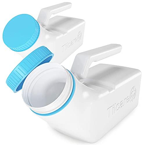 Urinoirs voor Mannen met Lichtgevend Deksel van Tilcare - 1000ml Dikke Plastieken Mannen Bedpan, Fles met Schroefdeksel - Lekvrije Urine Kamer - Draagbare Plasflessen voor Onderweg (2-Pack)