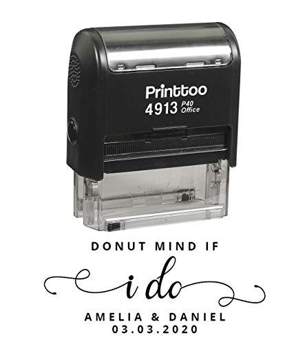 Printtoo Personalized Black Self Inking Donut Mind If I Do Stamp Custom Wedding Favor Rubber Stamper-58 x 22 mm