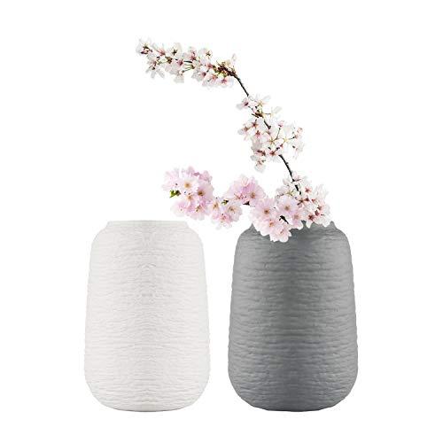 ComSaf 15cm Matte Blumenvasen Keramik Rund, Porzellan Tischvasen, Anthrazit und Weiß 2er-Set