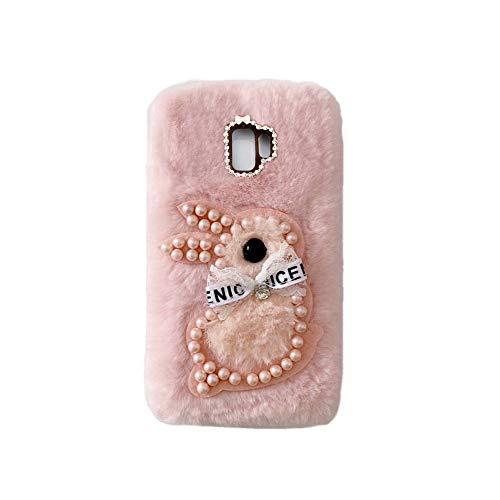 YHY Samsung C9 Pro Estuche Teléfono Móvil Estilo Lindo 3D Perla Linda Peluche De Conejo para Samsung Galaxy C9 Pro Rosado