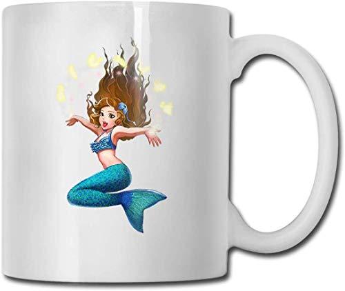Taza de té con diseño de sirena y caballito de mar, divertida y de cerámica, color blanco