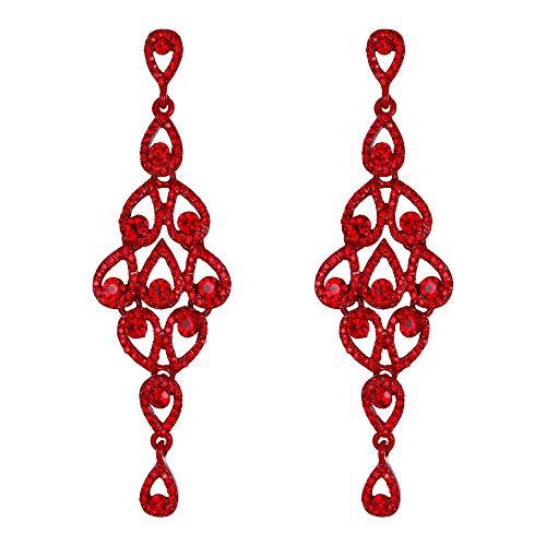 EVER FAITH Orecchini Rhinestone cristallo Svuotato goccia Forate Lampadario Pendente Orecchini per donne Rosso
