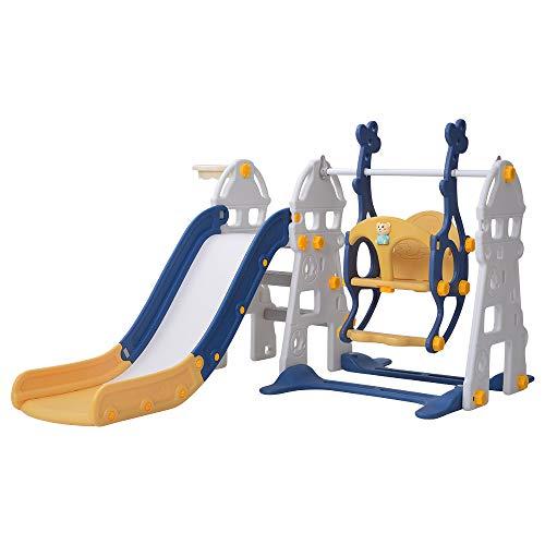 ELEOPTION 滑り台/ブランコ/バスケットゴール 3in1子供用おもちゃ クマ音楽機付き 折りたたみ/取り外し可能 耐荷重40kg かわいい