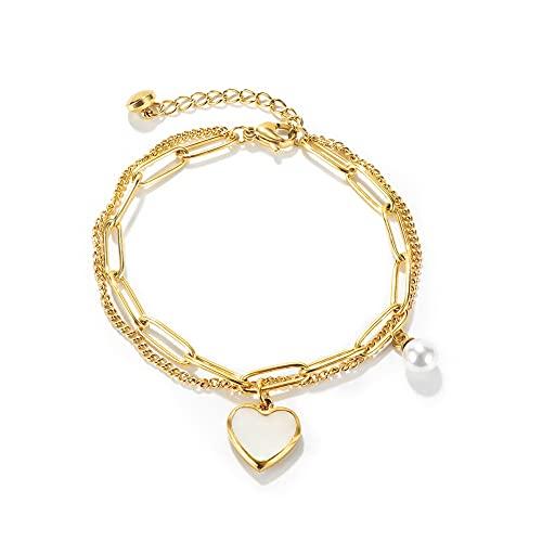 INMOFN Pulsera de eslabones de acero inoxidable chapado en oro con cuentas de corazón y encanto, para mujeres y niñas,