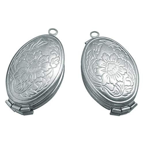 Yowablo Halskette Anhänger erweitern Foto Medaillon Engelsflügel Geschenk Schmuck Dekoration (Silber)