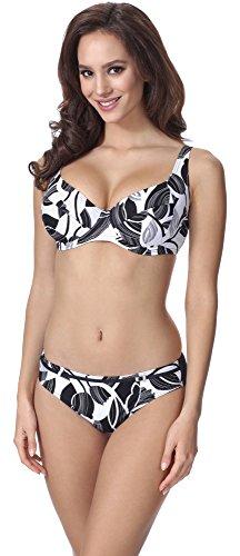 Merry Style Damen Figurformender Bikini F07 (Muster-335, Cup 90F / Unterteil 44)