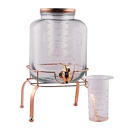 Raincart Dispenser Imported Glassware Beer, Juice, Water White Gold Mason jar Beverage 5 Liter, 1 Piece with Golden tap and Golden Stand