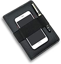 Upcity Planner Binder A6 PU Leather Notebook with 6 Ring Planner Padfolio Ring Binders Ideal for Interviews, Meetings, Presentations, Business Notebooks As Gifts(Black)