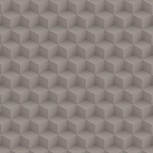 Papel de Parede Geométrico Cubos Bobinex Uau Bege Escuro