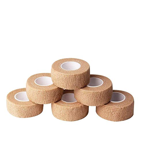 6pc-1 Inch Wide Skin Colour Elastic Self- Adhesive Bandage Finger Tape,First Aid Wrap Bandages, for Wrist and Ankle Sprains & Swelling