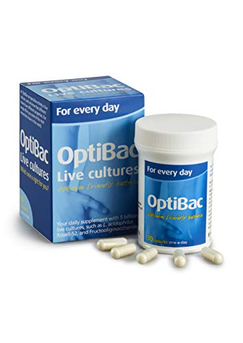 OptiBac for Every Day | Daily 5 Billion Friendly Bacteria Natural Supplement | Lactobacillus Acidophilus & Bifidobacterium Multi Strain Formula | One Month Supply | 30 Capsules