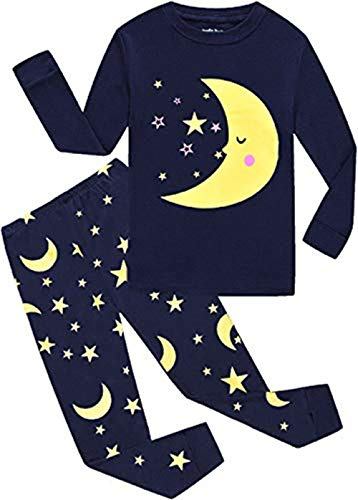 EULLA Schlafanzüge für Jungen Zweiteiliger Baumwolle Kinder Nachtwäsche Dinosaurier Star Mond DE 92