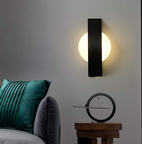 Moderno Minimalista lámpara de pared Estilo nórdico LED Lámpara de cama Manchas de pared Dentro LED Acrílico Cuarto Sala de estar Casa de Campo salón Iluminación de pared Luz cálida 3000K,Negro