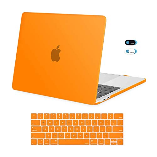 MOSISO MacBook Pro 13 inch Case 2019 2018 2017 2016 Release A2159 A1989 A1706 A1708, Plastic Hard Shell Case & Keyboard Cover Skin & Webcam Cover Compatible with MacBook Pro 13 inch, Orange