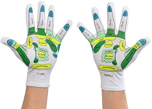 Handreflexzonen-Handschuhe für die Handreflexzonenmassage, Deutsche Beschriftung