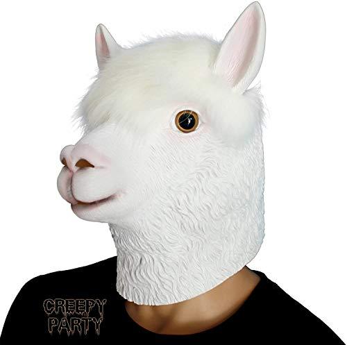 CreepyParty Fiesta de Disfraces de Halloween Máscara de Látex Cabeza de Animal Alpaca Máscara de Carnaval