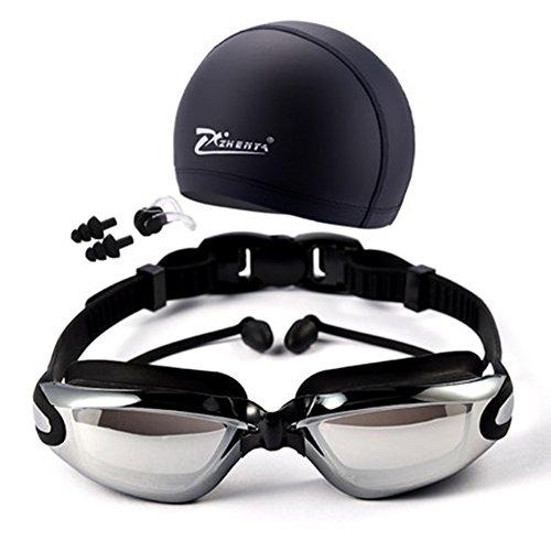 TININNA Anti-Fog, keine undichte, UV-Schutz Schwimmbrille mit Badekappe + Nase Clip + Ohrstöpsel für Erwachsene Männer Frauen Mädchen Jugend Kinder Kind EINWEG Verpackung